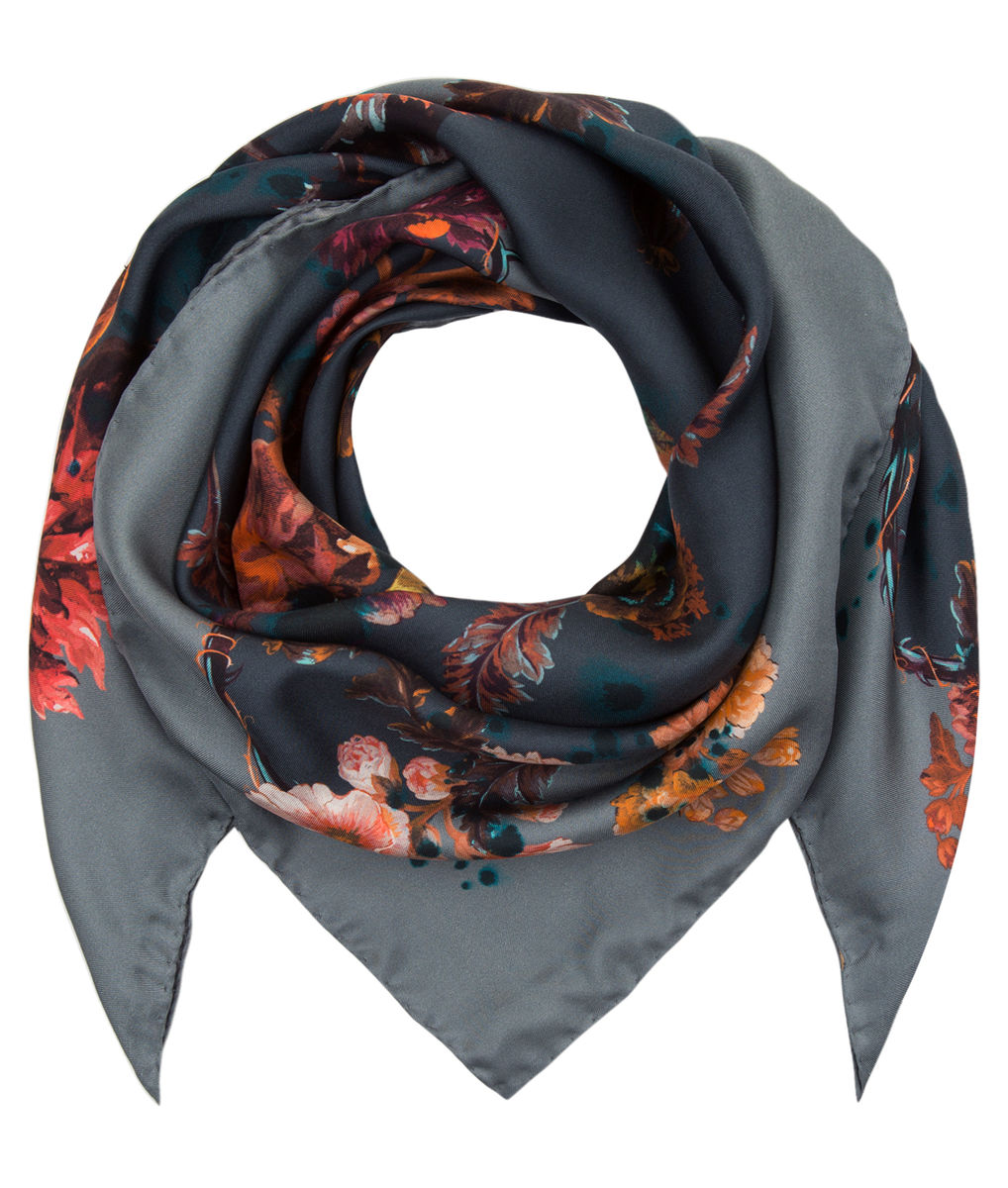 Medium scarf in Gothic Floral print (petrol) - product images  of