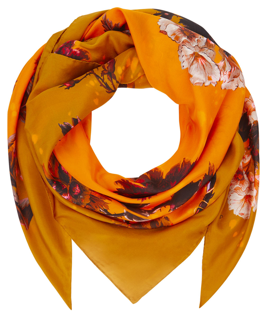 Medium scarf in Gothic Floral print (ochre) - product images  of