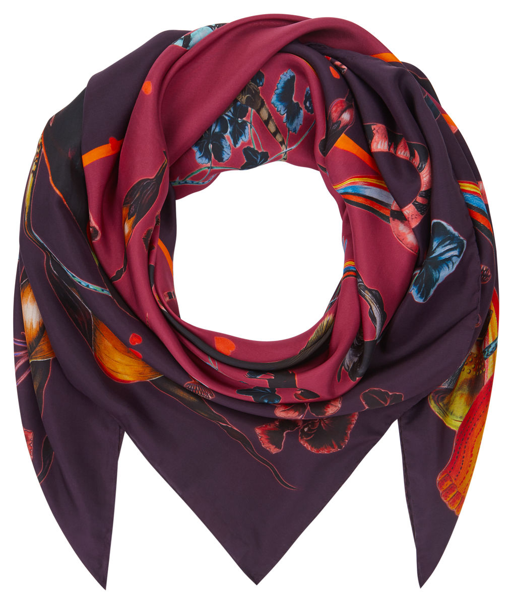 Square scarf in Rainbow Trout Print (wine) - product images  of