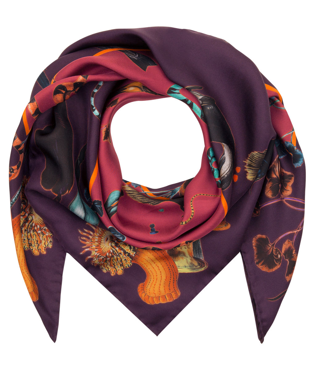 Medium scarf in Rainbow Trout Print (wine) - product images  of