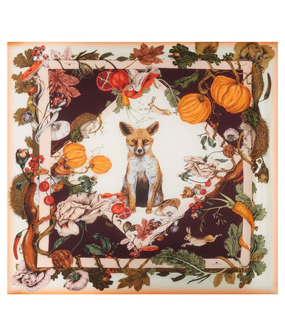 Medium,British,Garden,scarf,kew gardens vegetable patch fox hare squirell pumpkin fig mushroom