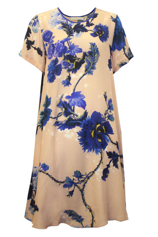 Frieda,Dress,in,Gothic,Floral,(blues),print,gothic floral shift dress made in england