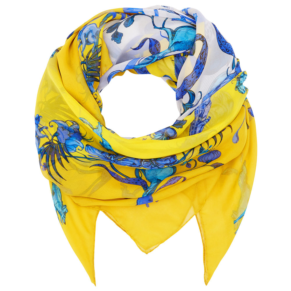 Square scarf in Kangaroo (Yellow) print - product images  of