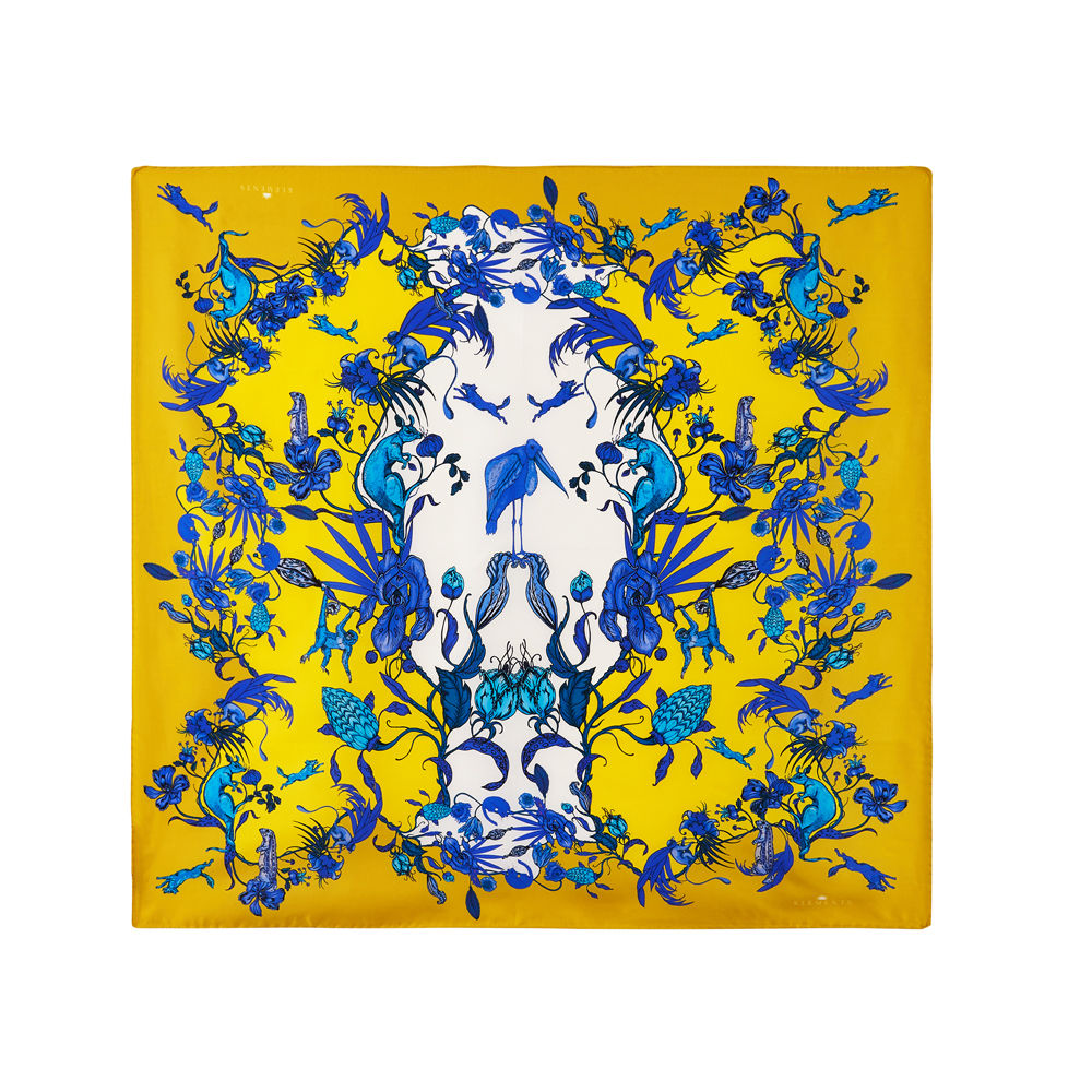 Medium scarf in Kangaroo (Yellow) Print - product images  of