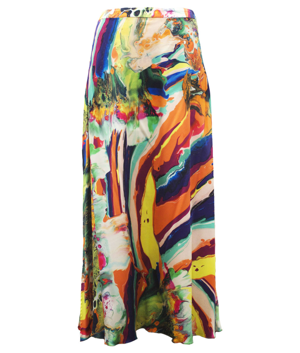 Pluto Silk skirt in Magma print - product images  of