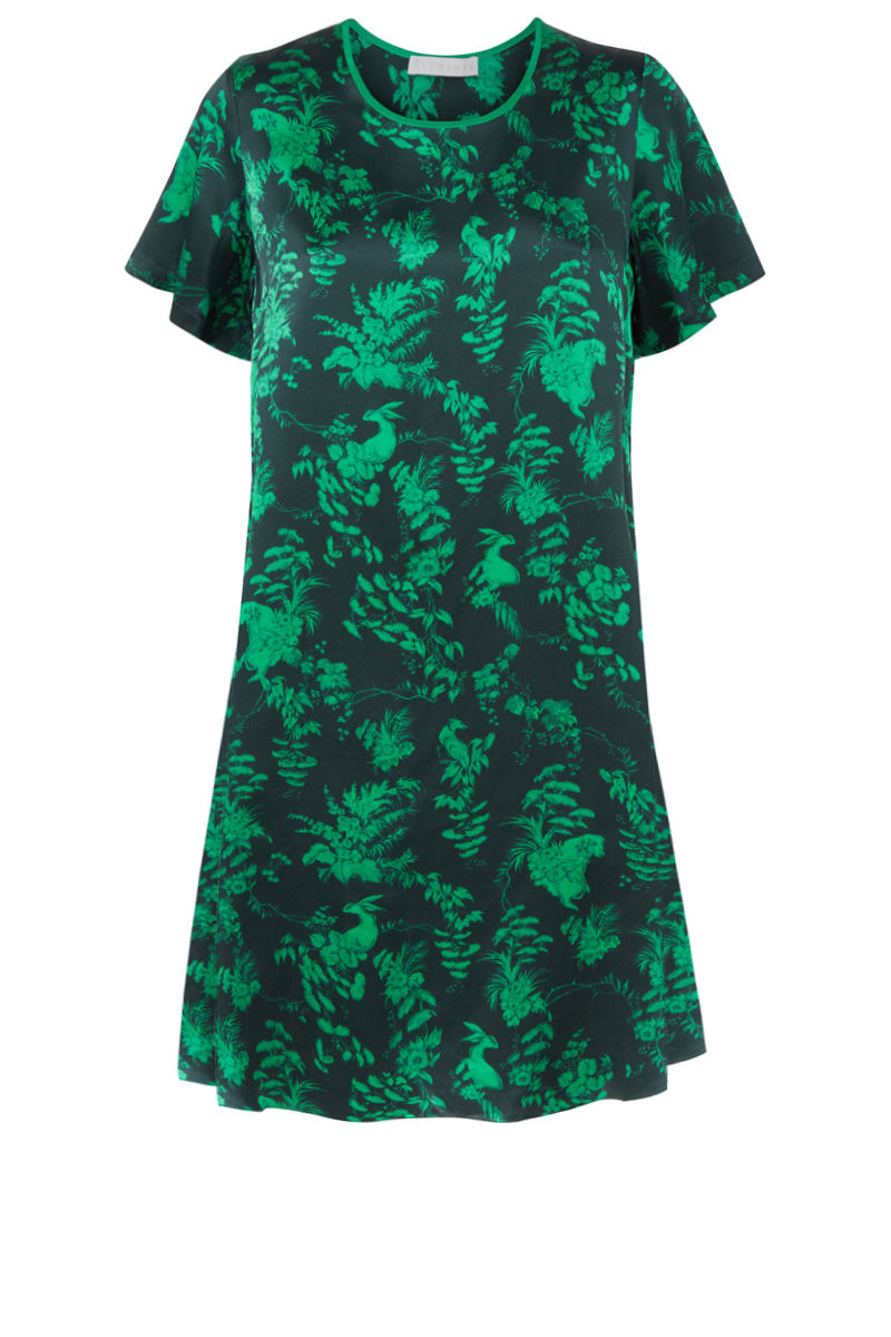 Frieda Dress in Garden Puppets (green) print - product images  of