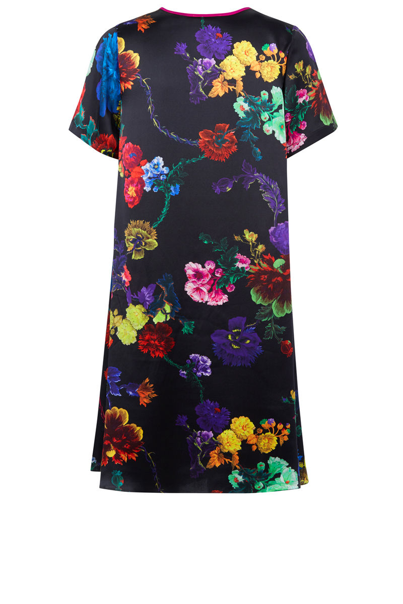 Frieda Dress in Gothic Floral (black and rainbows) print - product images  of