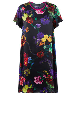 Frieda,Dress,in,Gothic,Floral,(black,and,rainbows),print