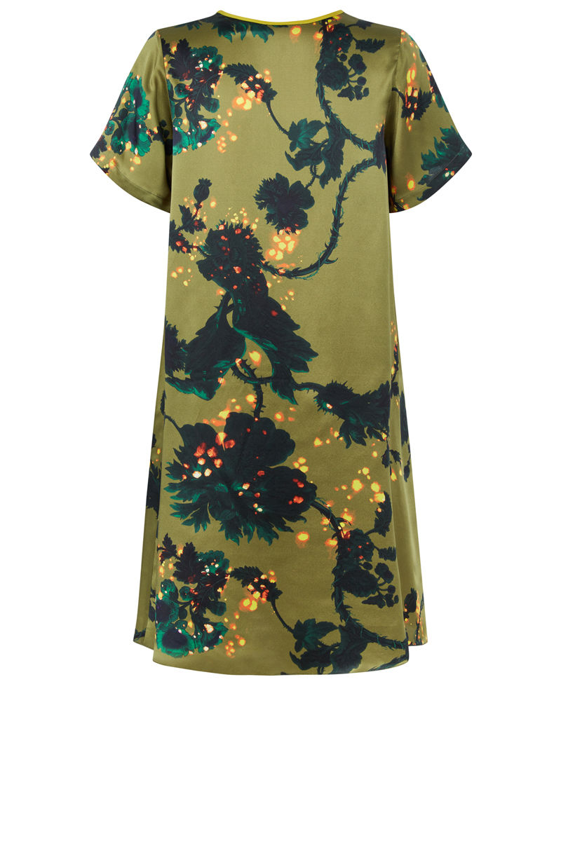 Frieda Dress in Gothic Floral (Ochre) print - product images  of