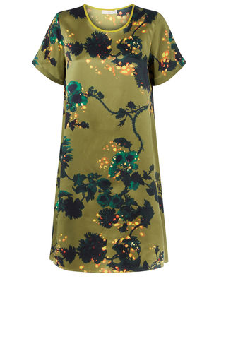 Frieda,Dress,in,Gothic,Floral,(Ochre),print