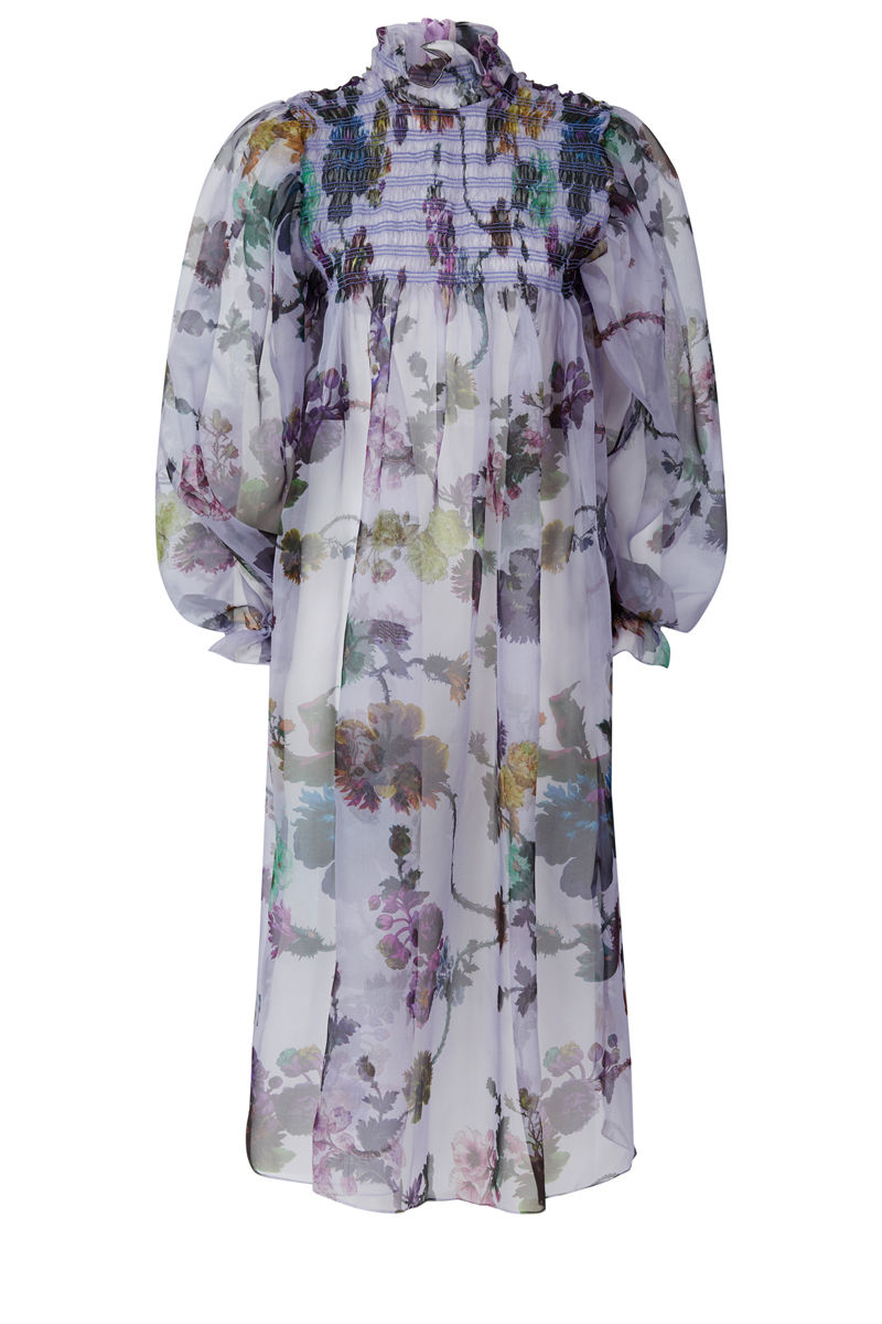 Smocked Dusk Dress in Gothic Floral print (iced lilac) - product images  of