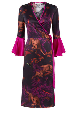 Netil,Wrap,Dress,in,Białowieża,Forest,Print,(deep,mauve)