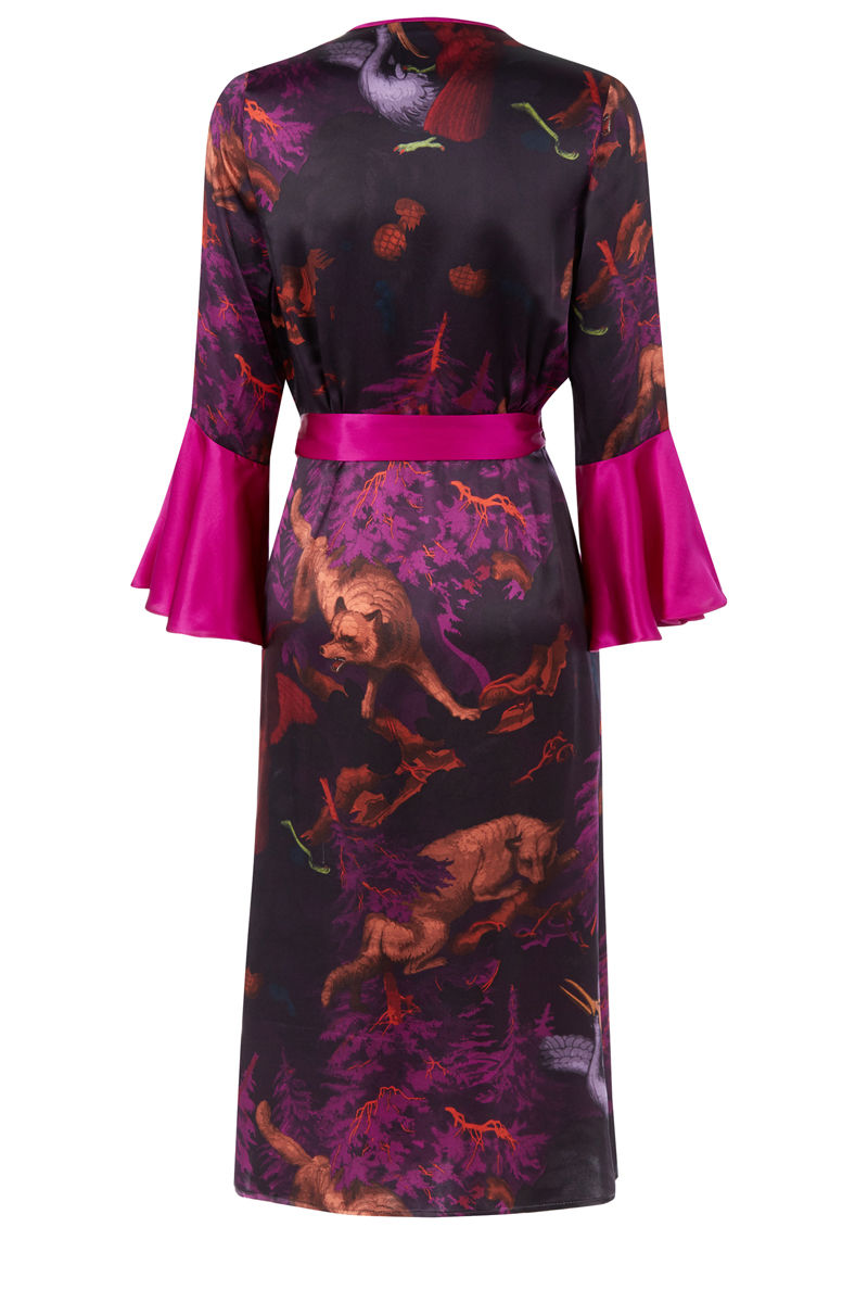 Netil Wrap Dress in Białowieża Forest Print (deep mauve) - product images  of