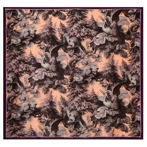 Square,scarf,in,Białowieża,Forest,Iced,Lilac,print