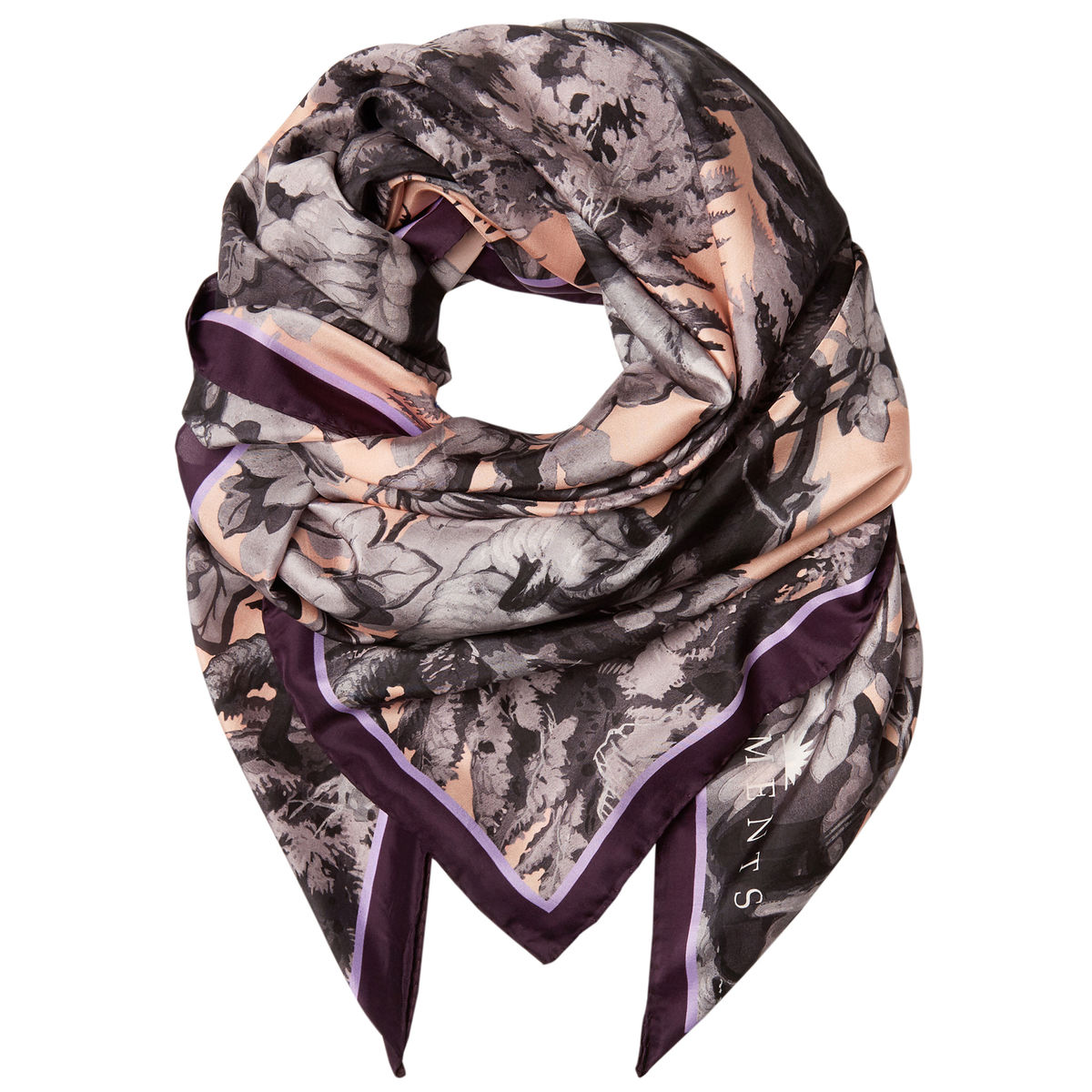 Square scarf in Białowieża Forest Iced Lilac print - product images  of