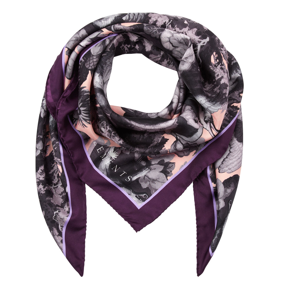 Medium scarf in Białowieża Forest Iced Lilac print - product images  of