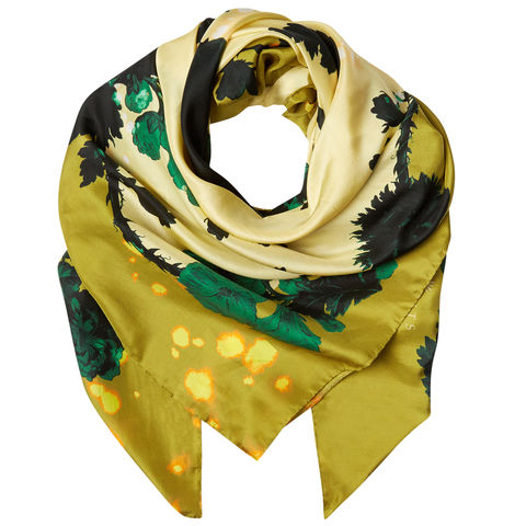 Square,scarf,in,Gothic,Floral,Ochre,print