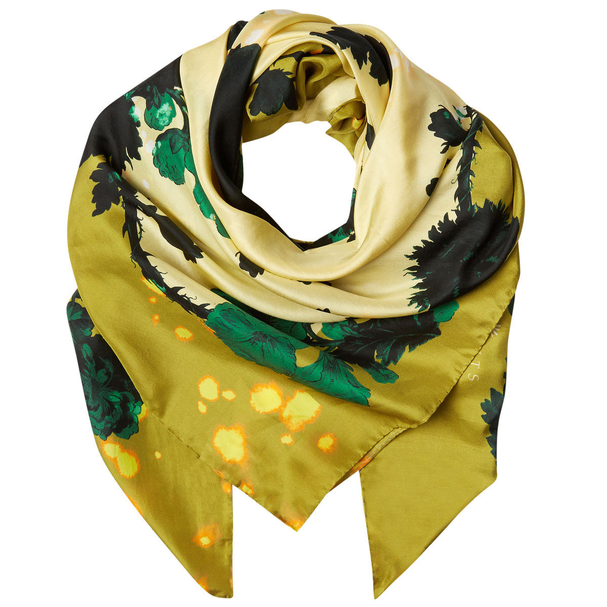 Square scarf in Gothic Floral Ochre print - product images  of