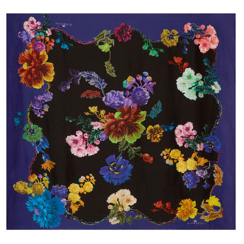 Large,scarf,in,Gothic,Floral,Black,Base,/,Rainbows,print