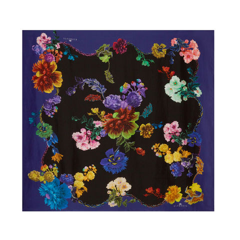 Medium,scarf,in,Gothic,Floral,Black,Base,/,Rainbows,print