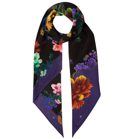 Razor,scarf,in,Gothic,Floral,Black,Base,/,Rainbows,print