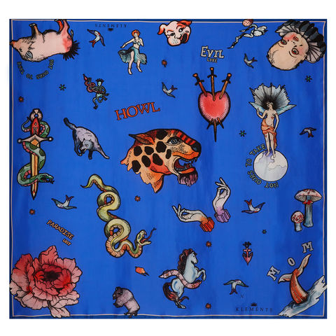 Large,scarf,in,Tattoo,(blue),print
