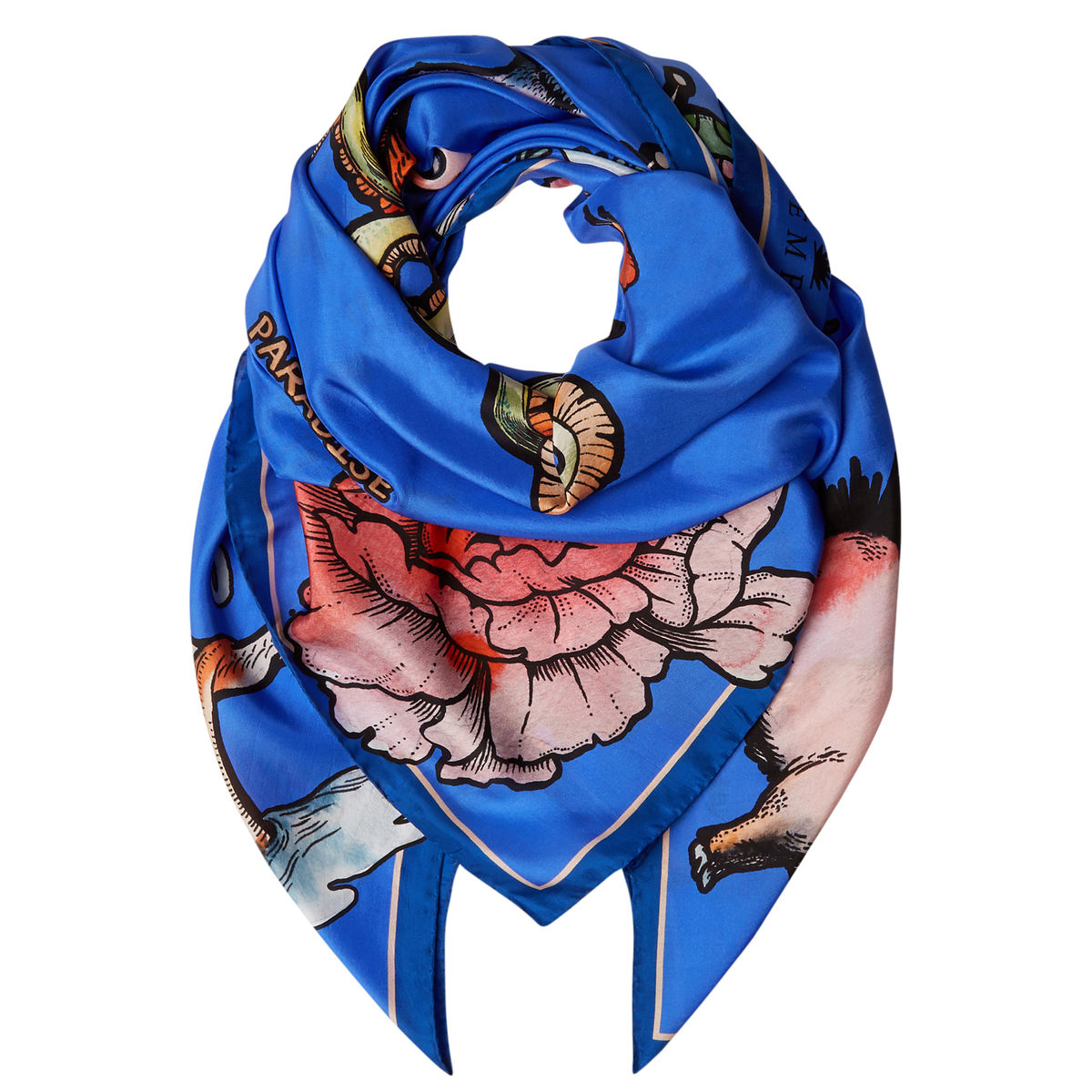 Large scarf in Tattoo (blue) print - product images  of
