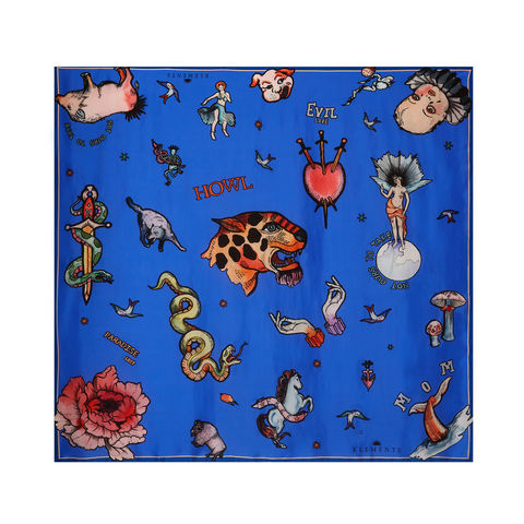 Medium,scarf,in,Tattoo,(blue),print