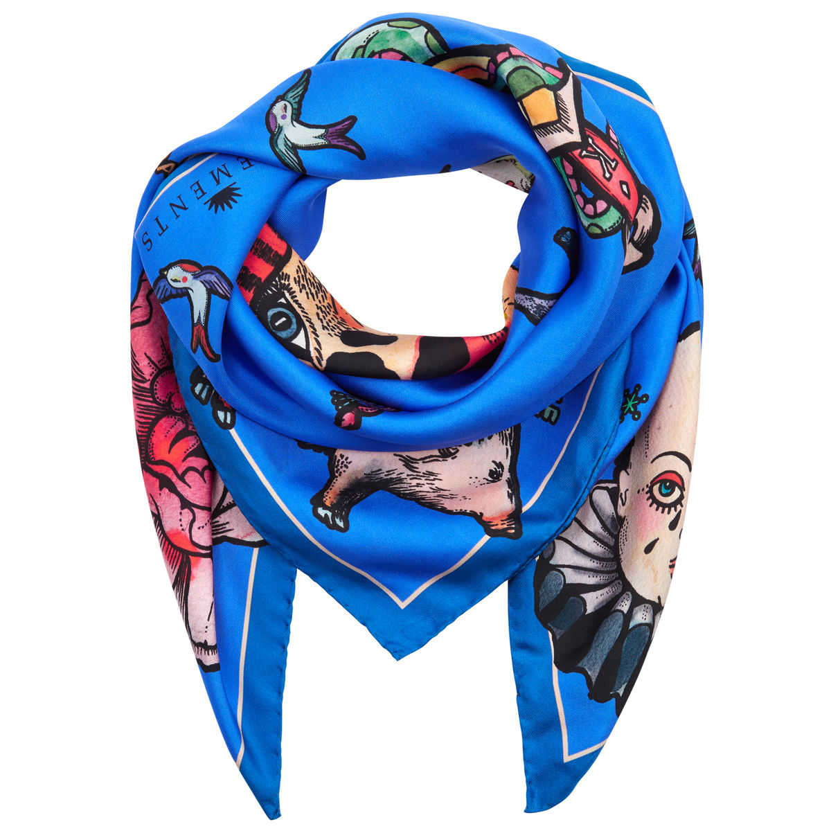 Medium scarf in Tattoo (blue) print - product images  of