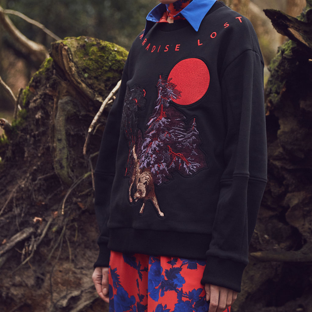 Wolf Embroidered Sweatshirt - product images  of