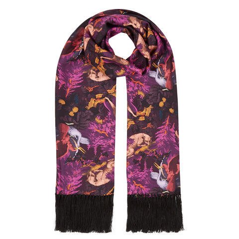 Delores,hand,Tasselled,silk,twill,scarf,in,Białowieża,Forest,print,(deep,mauve)