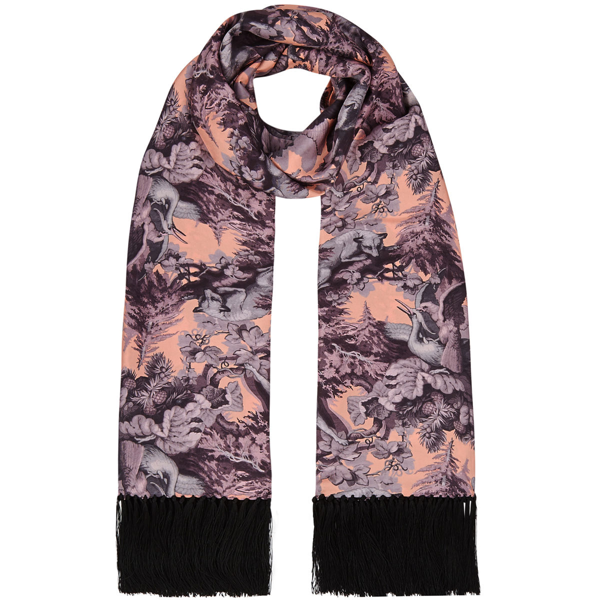 Delores hand Tasselled silk twill scarf in Białowieża Forest print (iced lilac) - product images  of