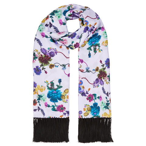 Delores,hand,Tasselled,silk,twill,scarf,in,Gothic,floral,print,(iced,lilac)