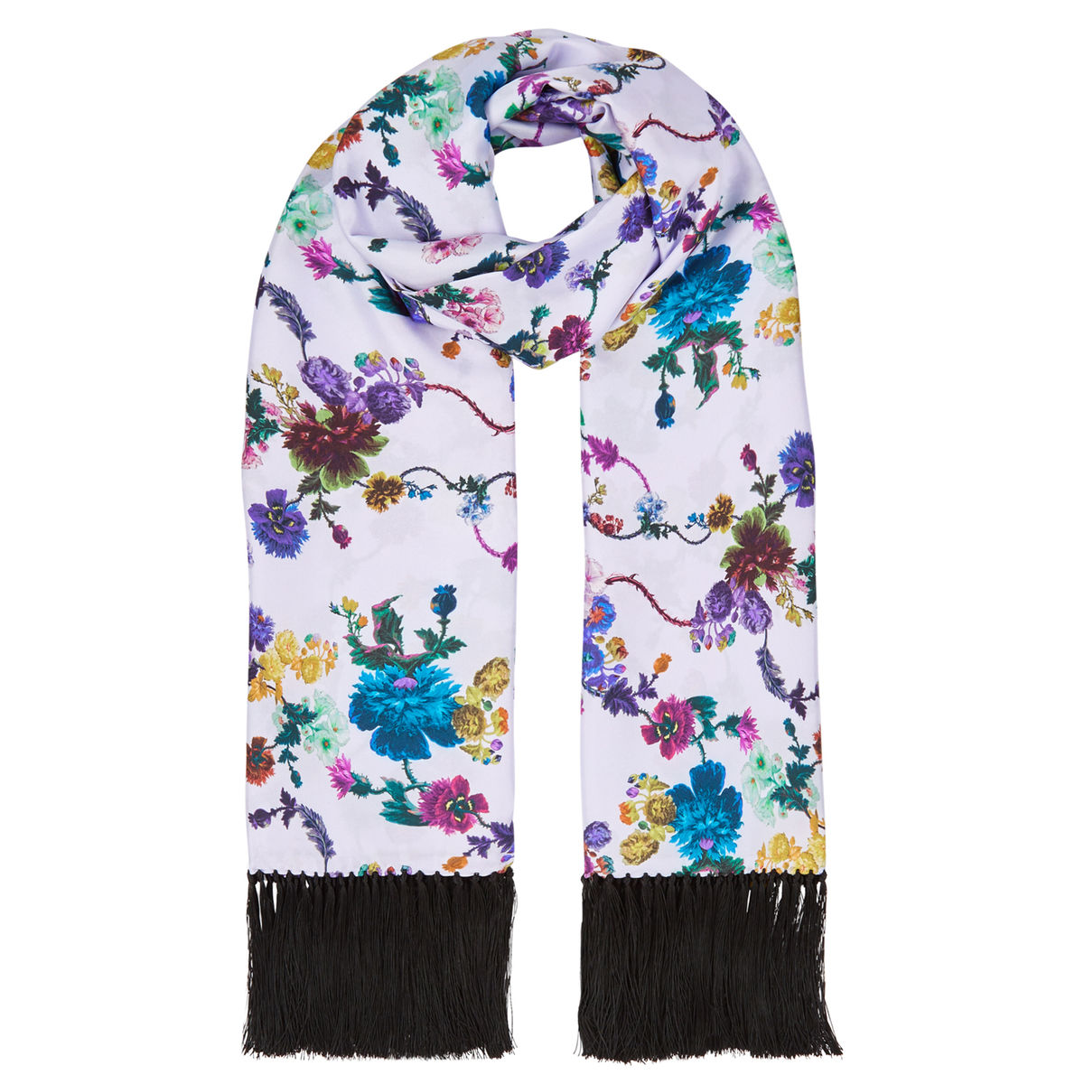 Delores hand Tasselled silk twill scarf in Gothic floral print (iced lilac) - product images  of