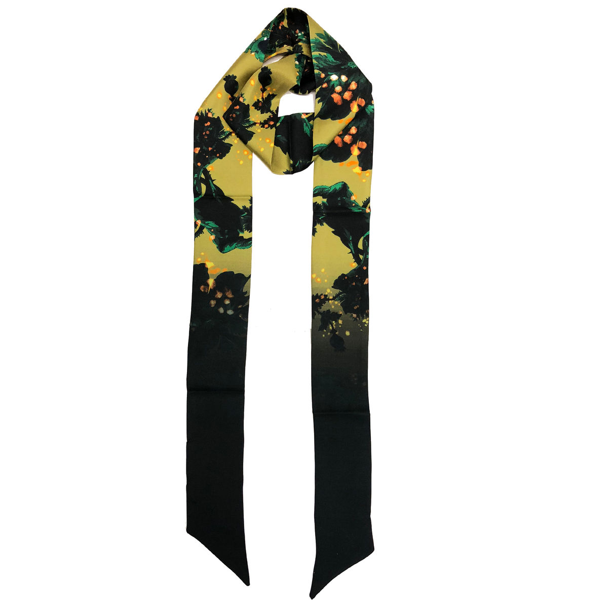 Grace Skinny scarf Gothic Floral Acid Ochre - product image