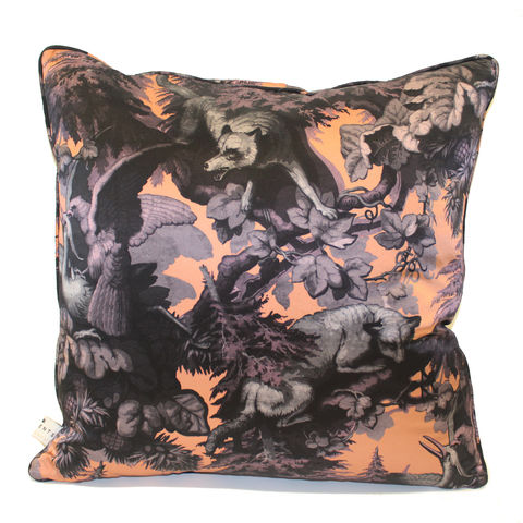 Silk,Satin,Large,Cushion,,Bialowieza,Forest,iced,lilac,,60,x,cm,luxury printed cushion