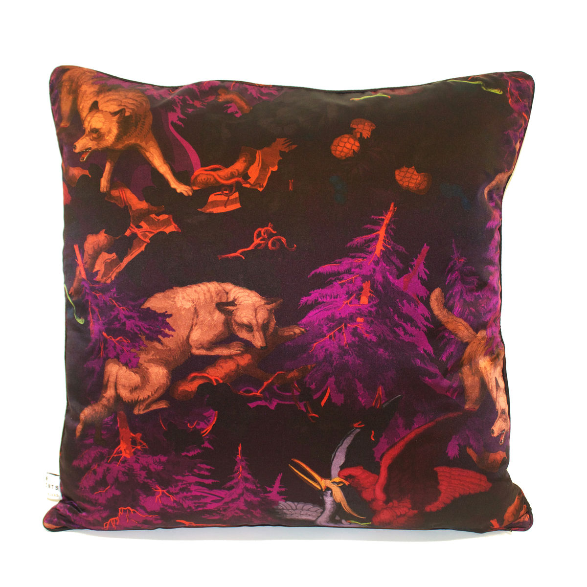 Silk Satin Large Cushion, Bialowieza Forest deep mauve, 60 x 60 cm - product images  of