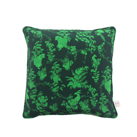 silk,cushion,,garden,puppets,,emerald,,print,45,x,45cm,luxury printed cushion
