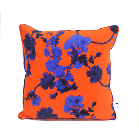 silk,cushion,,gothic,floral,red,print,45,x,45cm,luxury printed cushion