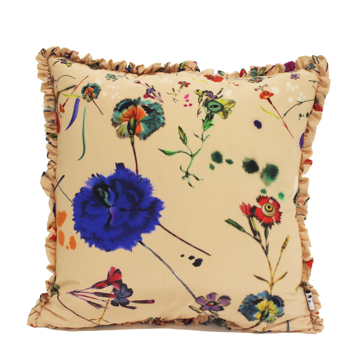 silk frill cushion, Floral explosion, 50 x 50 cm - product images  of