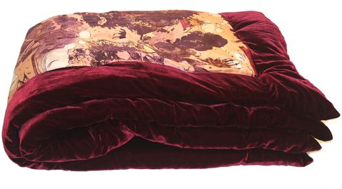Eiderdown,,Le,mont,saint,michel,silk,satin,print,and,burgundy,velvet.