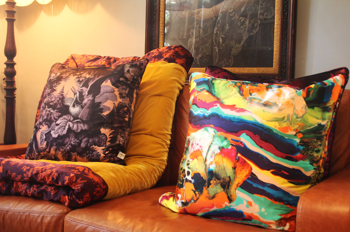 Silk Satin Large Cushion, Magma print, 60 x 60 cm - product images  of
