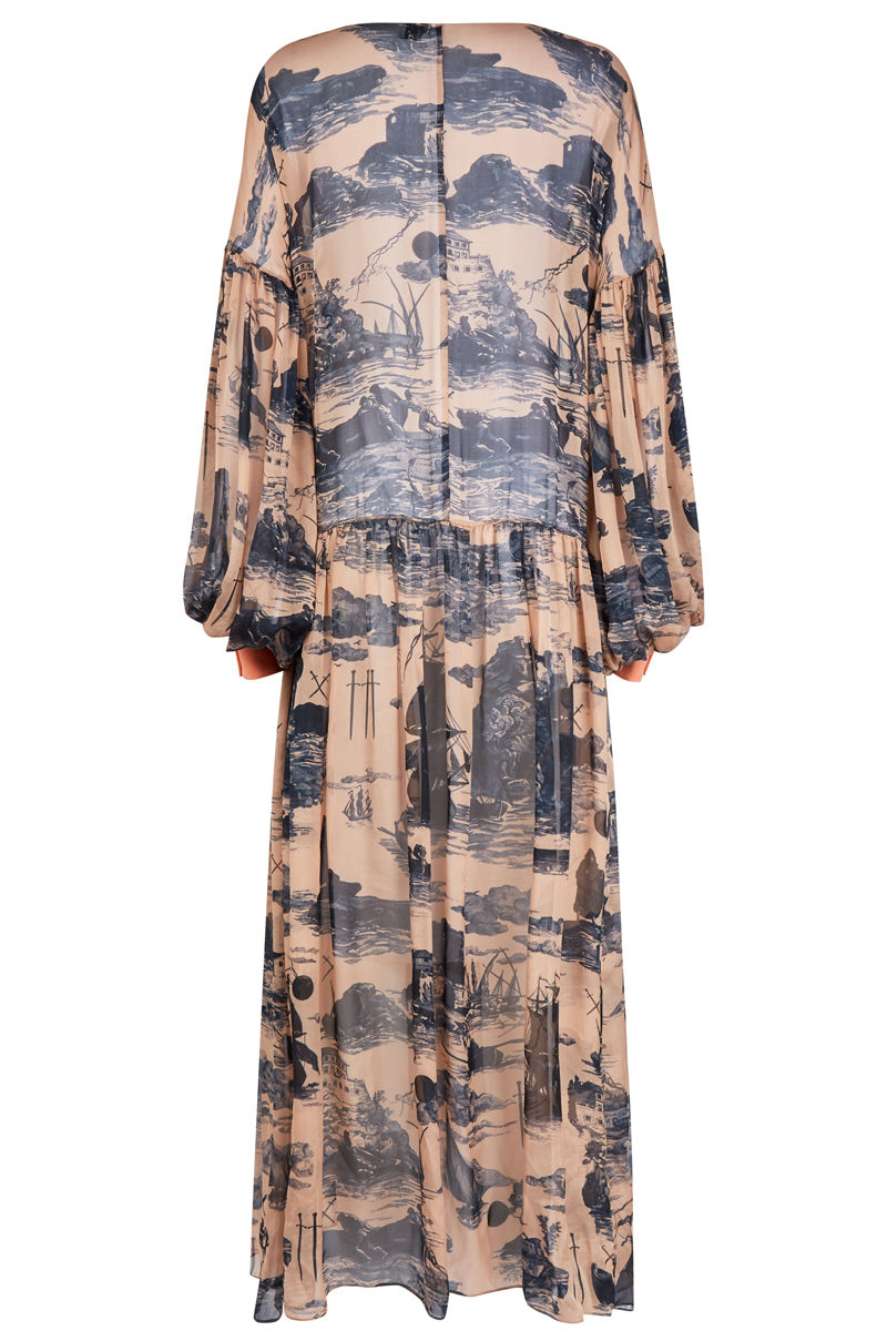 Dusk Dress Doomed Voyage print / silk chiffon - product images  of