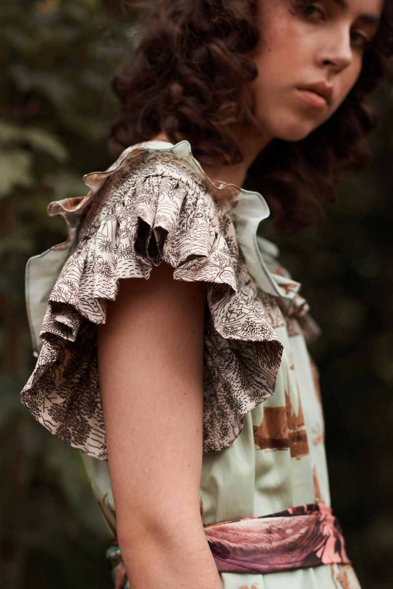 Laura Prairie Dress in Cursed civilisation / abandoned village print mix  - product images  of