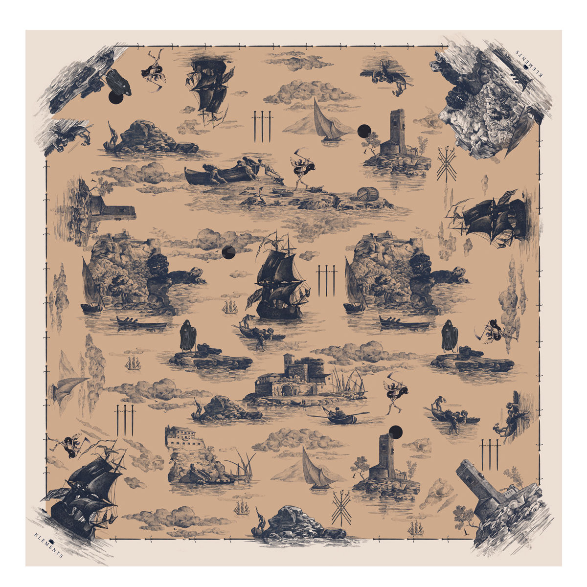 Large scarf in Doomed Voyage print - product images  of