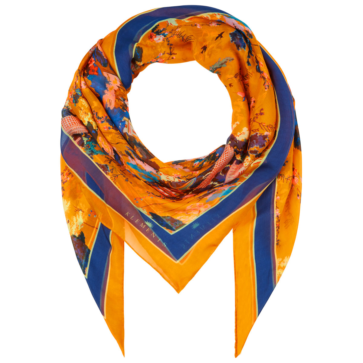 Large scarf in Urban Chinoiserie (satsuma) print - product images  of