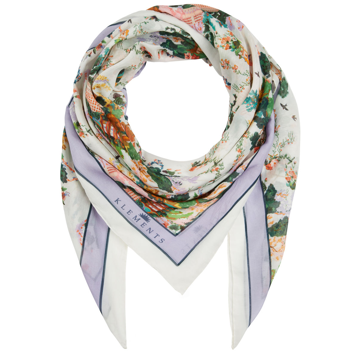 Large scarf in Urban Chinoiserie (white) print - product images  of