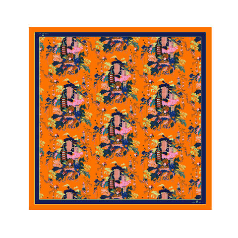 Medium,scarf,in,Urban,Chinoiserie,(satsuma),print