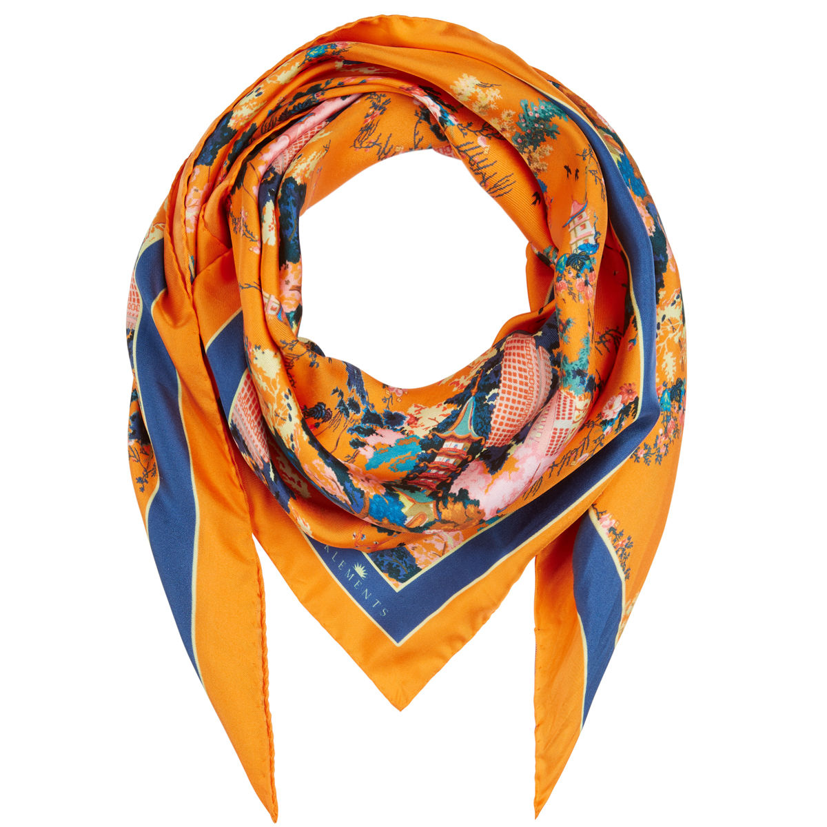 Medium scarf in Urban Chinoiserie (satsuma) print - product images  of