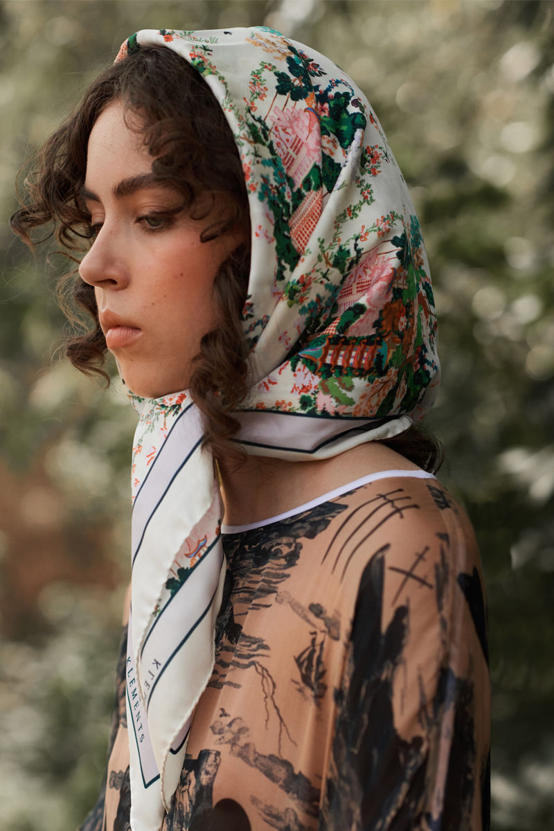 Medium scarf in Urban Chinoiserie (white) print - product images  of